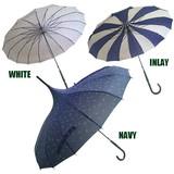 晴雨兼用★雨傘日傘、長傘、パゴダ塔型、いかり模様 16本骨傘