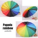晴雨兼用★雨傘日傘、長傘、パゴダ塔型、レインボー虹模様 16本骨傘