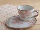 【土物の器】彩り桜コーヒー碗皿/単品/MADE IN JAPAN