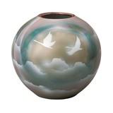 【九谷焼】8号花瓶 雲海に鶴