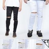 【OPEN特価】2016新作 膝 ファスナー ダメージ パンツ <大きいサイズ>