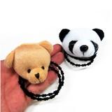 【中華コーデにも♪】ダブルお団子にもパンダ・クマぬいぐるみ一個売りヘアゴム