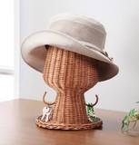 ラタン帽子スタンド(小物掛けフック付き)【直送可】【送料無料】