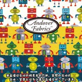 【生地】【カットクロス】【反売り】Andover Fabrics Little Monster Robot ロボット柄 20/16オックス