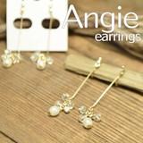 NEW【Angie】ライン&プチビーズ ゴールド オメガイヤリング/ノンホールピアス