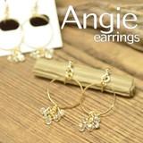 NEW【Angie】オーバルライン&プチビーズ ゴールド オメガイヤリング/ノンホールピアス