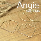 NEW【Angie】シンプルフープタイプ ゴールド オメガイヤリング/ノンホールピアス。2型展開。
