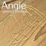 NEW【Angie】 トライアングルスクエア&ラインチェーン ゴールド ピアス!2型展開。シンプル&フェミニン!