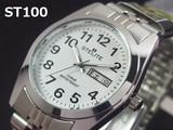 STELITEメンズ腕時計 メタルウォッチ 日本製ムーブメント DAY-DATE表示 10気圧防水