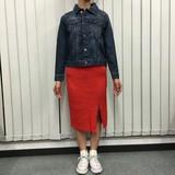 【2016AW新作】12G 6*2リブ編み ニットタイトスカート