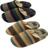 【Slippers&Blanket】リブ付きバブーシュスリッパ ボーダー(M)