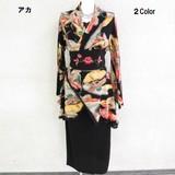 【★新商品★】ちりめん風和柄帯付き着物スーツ