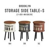収納できて物も置ける、レトロな風合いの見せる収納【ブルックリン・ストレージサイドテーブル・S】