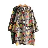 迷彩柄シャカシャカ・フード付ロングコート/大きいサイズ