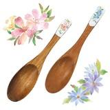 ■特価単品■花かおり 木製レンゲ2種(ツツジ・えぞ菊)