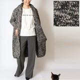 2016新作 太番手ローゲージ フード衿付きニットコート