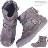 【3-3F.D1】★ヒール3.0cm バックリボン ショート ブーツ ブーティ◆SH-12591