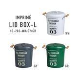 ヴィンテージ風のロゴをプリントした少しレトロな印象のリッド缶【アンプリメ・リッドボックス・L】