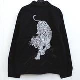 【和柄刺繍】白虎刺繍入りコーチジャケット