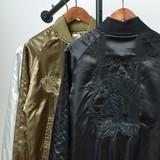 【2016AW新作】 メンズ JAPAN 虎刺繍 スカジャン / タイガー 横須賀 ジャンパー ジャケット サテン 秋 冬