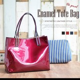 Artificial Leather 4 Colors Enamel Artificial Leather Mini Bag Attached Tote