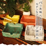 バリ島職人手作り♪モダンなアンティーク調灰皿【ロンボク焼きスクエア灰皿】アジアン雑貨