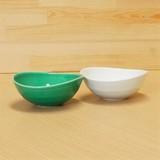 緑交趾/白磁 変形鉢