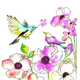 Daisy  ペーパーナプキン フラワー・鳥