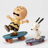【JIM SHORE】フィギュア スヌーピー&チャーリーブラウン -Skateboarding Buddies-