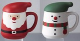 フタ付マグカップ(クリスマス)(1コ入)【色柄指定不可】 2-32