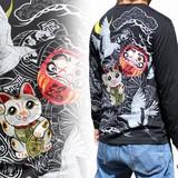 2016F/W新作和柄刺繍長袖Tシャツ 招き猫柄