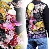 2016F/W新作和柄刺繍長袖Tシャツ 花魁柄