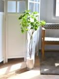 Glass White Dot Mug Noria Leaf Artificial Plants