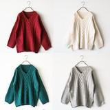 袖ゆったりケーブル柄セーター・ニット/AW