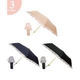 雨晴兼用】3段折傘(UVカット&軽量)ボーダーフリルUVカット率97.5%以上!!レディース 50cm