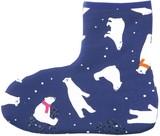 ぽかぽかそっくす アンクル シロクマ ネイビー (旧ロング) ☆リピータ続出のあったか防寒靴下♪