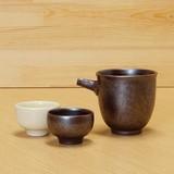 柿釉 片口注器/ぐい呑 (柿釉・白釉)