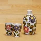 ローズガーデン 二合徳利/梅酒杯(紫・赤)