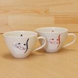 笑いねこ カフェスープ碗 (青/赤)