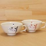笑いねこ スープカップ (青/赤)