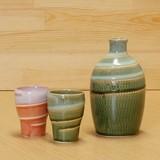 釉流し 二合徳利 (緑)/梅酒杯 (緑・ピンク)
