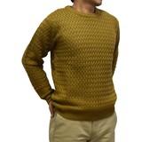 【2016秋冬】5ゲージ アクリル MIX バスケット編み クルーネック セーター