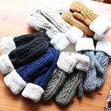 ◆裏ボア付き・ケーブル編みミトン手袋/手袋/防寒/グローブ/ニット/ベーシック/北欧◆423385