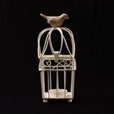 鳥マスコット付きアイアン製とりかご(キャンドルホルダー) 四角