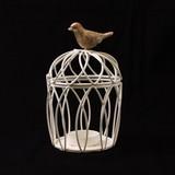 鳥マスコット付きアイアン製とりかご(キャンドルホルダー) 丸