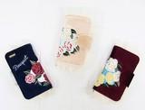 【iPhone6/6S対応】ベロア刺繍ファーiphoneケース