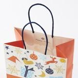 ノルディック  パーティー M【持ち手にブルーのラメが! クリスマス手提袋】【紙袋】