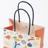 ノルディック  パーティー S【持ち手にブルーのラメが! クリスマス手提袋】【紙袋】