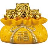黄金の三匹ふくろうバンク【フクロウ】【梟】【貯金箱】
