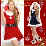 【クリスマス*上質】フード付き♪AラインSEXY&CUTEサンタドレス コスチューム サンタコスプレ